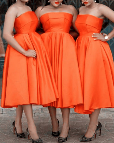 Image of Tea Length Bridesmaid Dresses Satin Strapless