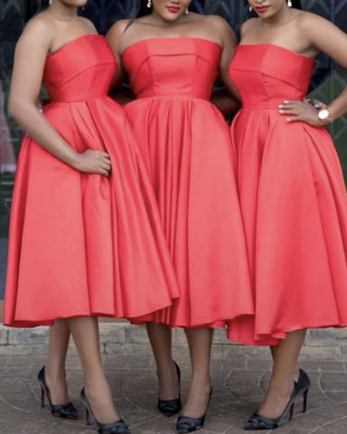 Tea Length Bridesmaid Dresses Satin Strapless