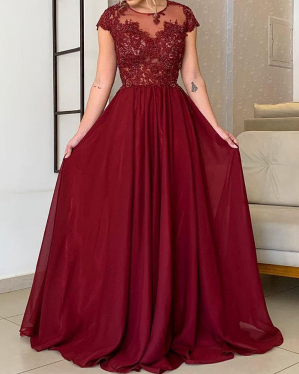 Modest Bridesmaid Dresses Chiffon Cap Sleeves Lace Appliques
