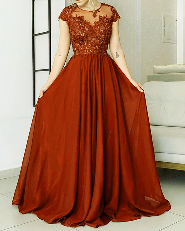 Rust Bridesmaid Dresses Cap Sleeves