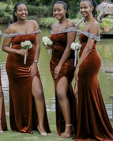 Mermaid Velvet Bridesmaid Dresses Beaded Off The Shoulder