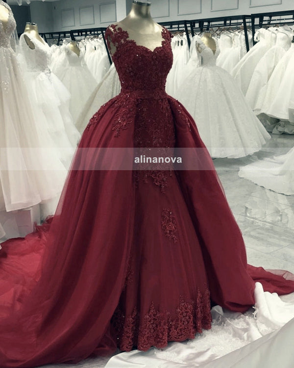 Burgundy Mermaid Evening Dress 2020