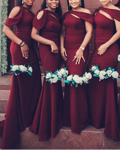 Burgundy Bridesmaid Dresses One Shoulder