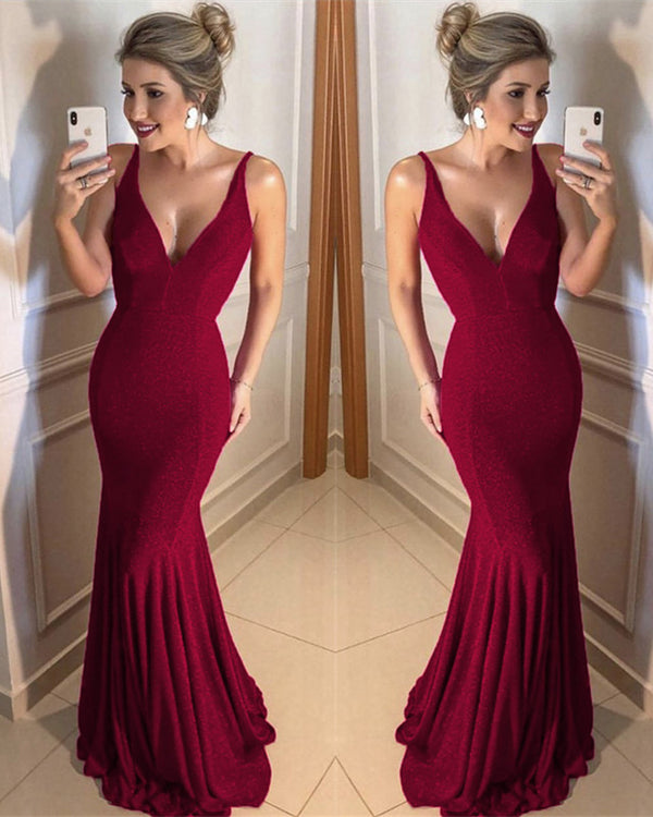 Burgundy Sequins Mermaid Prom Dresses 2020