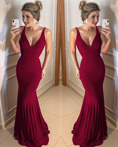 Image of Burgundy Sequins Mermaid Prom Dresses 2020