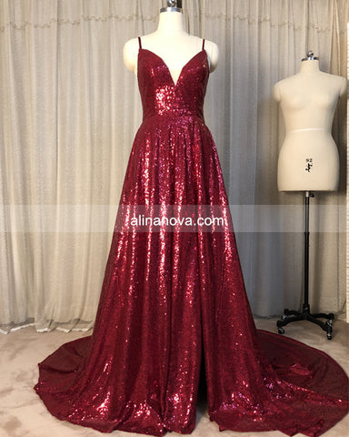Image of Sequin Prom Dresses With Slit