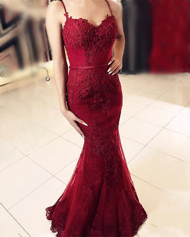 Image of Burgundy Lace Mermaid Prom Dresses 2020