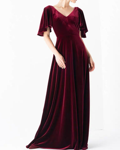 Image of Burgundy Velvet Bridesmaid Dresses With Sleeves