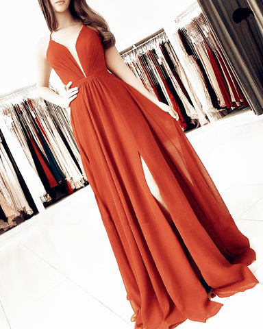 Burnt Orange Chiffon Split Dresses