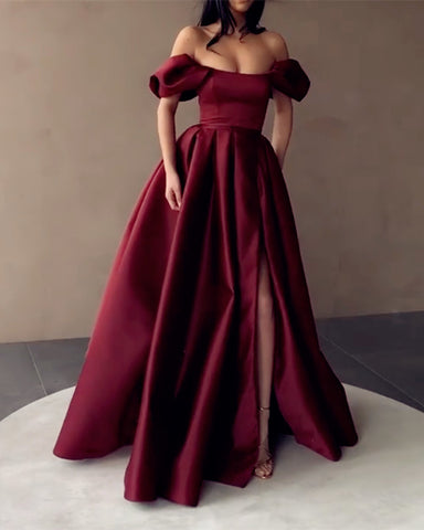 Burgundy Prom Dresses Off The Shoulder