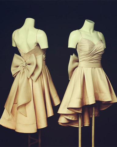 Image of Champagne Bridesmaid Dresses High Low Style