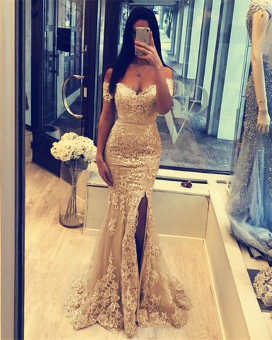 Image of Champagne Mermaid Prom Slit Dresses