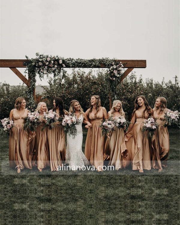 Sexy Long Split Bridesmaid Dresses Plunge Neck
