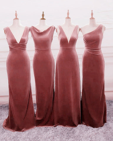 Image of Velvet Mixed Bridesmaid Dresses
