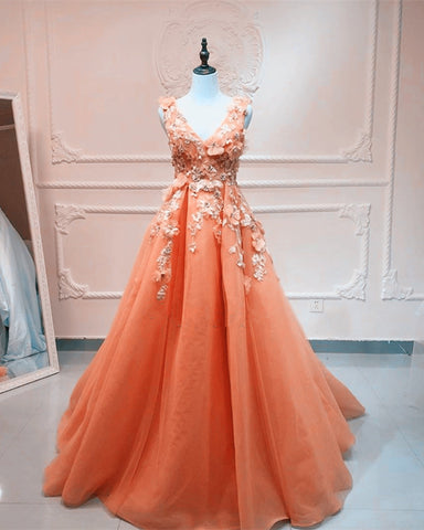 Image of Coral Prom Dresses Long