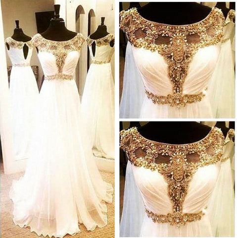 Image of white chiffon golden beaded evening dress long prom dress 2017