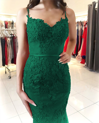 Image of Emerald Green Lace Mermaid Prom Dresses 2020