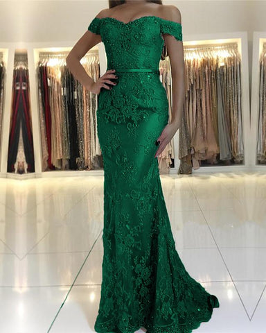 Image of Emerald Green Mermaid Prom Dresses 2020