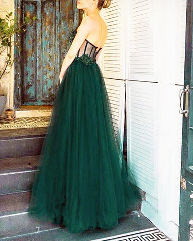 Emerald Green Tulle Evening Gown
