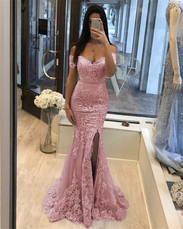 Pink Mermaid Prom Slit Dresses