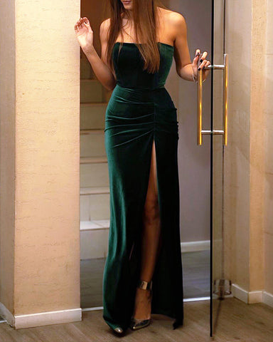 Image of Slit Velvet Mermaid Bridesmaid Dresses Green