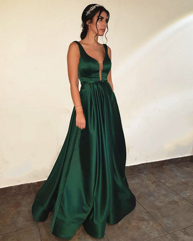 636c9adc9d Emerald Green Prom Dresses Long Satin Open Back Formal Evening Gowns ...