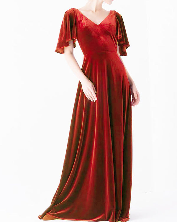English Rose Velvet Dresses With Sleeves
