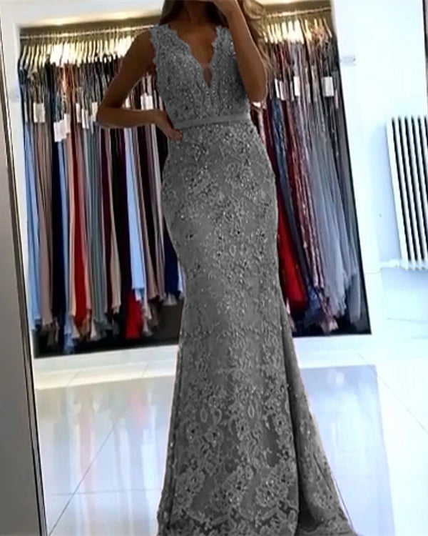 Silver Lace Mermaid Evening Dress