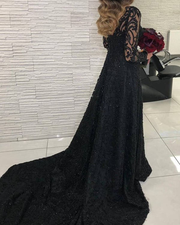 Long Sleeves Evening Dress Lace V Neck Leg Slit