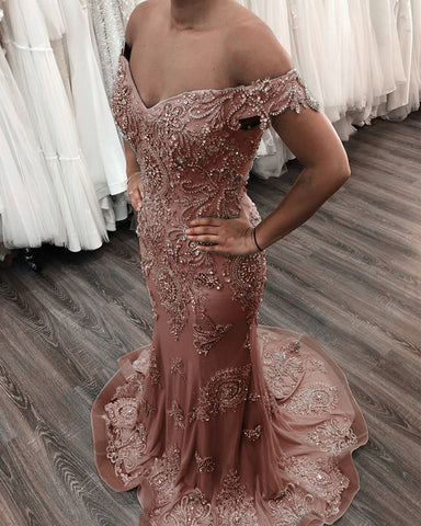 Mermaid Off The Shoulder Evening Dresses Lace Beaded Prom Gowns