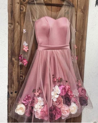 Long Sleeves Homecoming Dresses Floral Flowers Embroidery