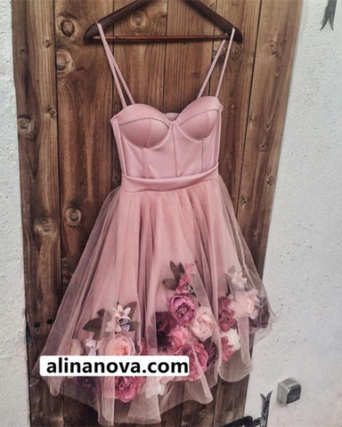 Image of Sweetheart Homecoming Dresses Floral Flowers Embroidery