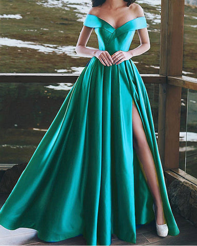 Image of Sexy Long Bridesmaid Dresses Satin V Neck Off Shoulder