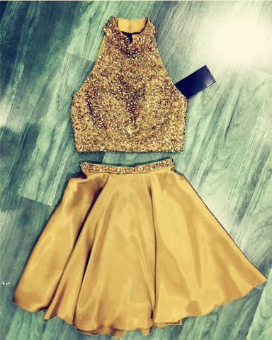 Image of Gold Homecoming Dresses Two Piece