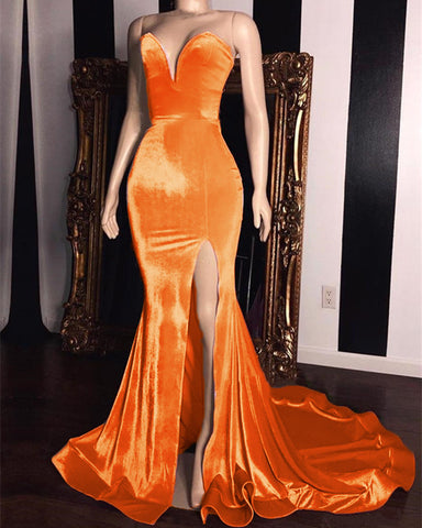 Image of Gold Velvet Mermaid Evening Dress