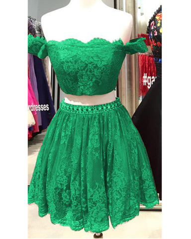 Image of Green Lace Two Piece Homecoming Dresses 2019
