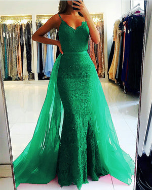 Green Lace Mermaid Dress Removable Skirt