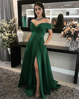 Emerald Green Prom Dresses With Pockets