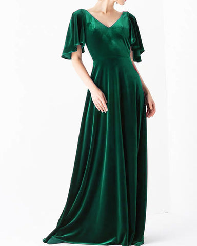 Image of Emerald Green Velvet Bridesmaid Dresses With Sleeves