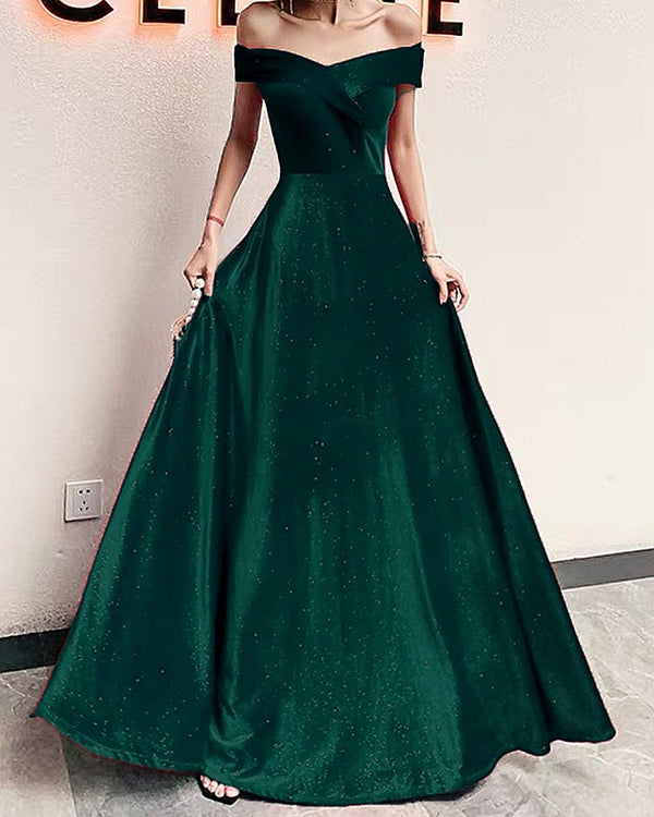 Hunter Green Velvet Prom Dresses Glitter