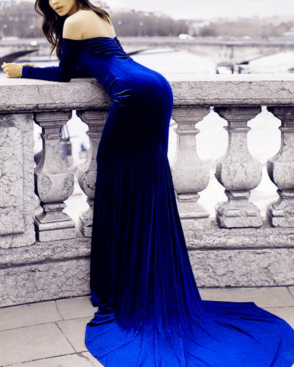 Long Sleeves Mermaid Prom Dress Off Shoulder Velvet Evening Gowns