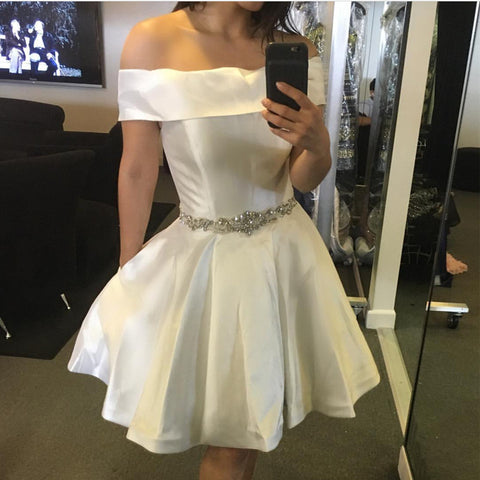Image of White Satin Off The Shoulder Homecoming Dresses Beaded Sashes