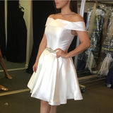 White Satin Off The Shoulder Homecoming Dresses Beaded Sashes