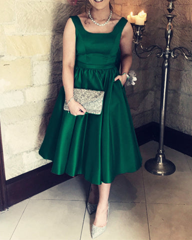 Image of Emerald-Green-Bridesmaid-Dresses-Tea-Length-Wedding-Party-Dress