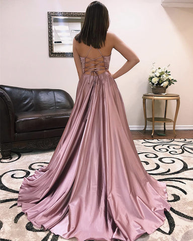 Image of Long Sexy V-neck Cross Back Satin Prom Dresses