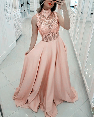 Image of Elegant Lace High Neck Long Satin Prom Dresses