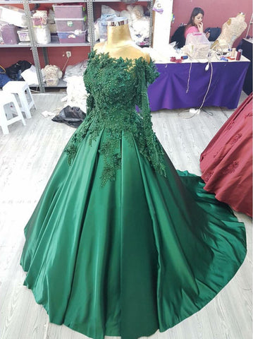 Image of Lace-Long-Sleeves-Satin-Ballgowns-Wedding-Dresses-Hunter-Green