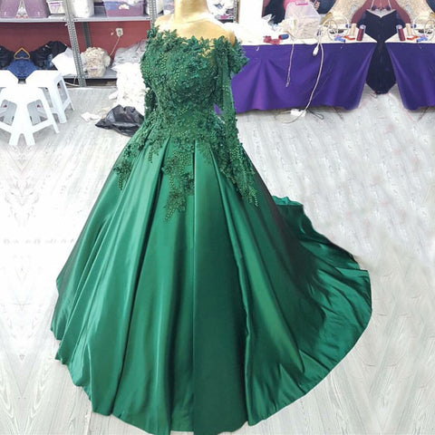 Image of 3D Lace Flower Long Sleeves Satin Ballgowns Prom Dresses Off The Shoulder