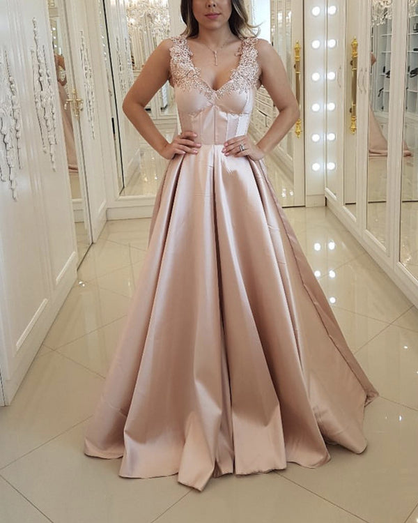 Elegant Lace V-neck Floor Length Satin Evening Dresses