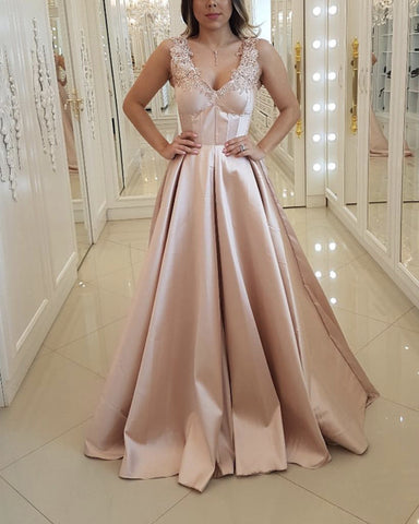 Image of Elegant Lace V-neck Floor Length Satin Evening Dresses
